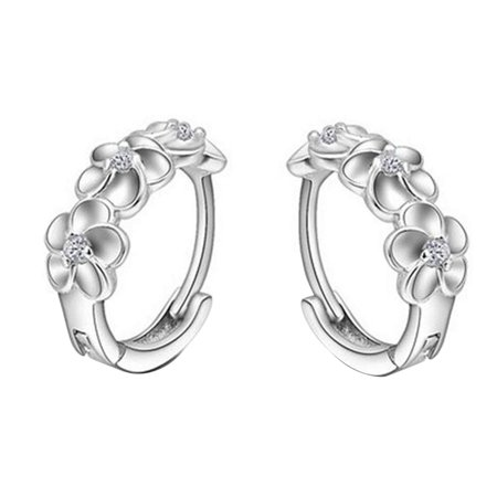 Women Girls Earrings Clip Plated 925 Silver Hypoallergenic Hinged Hoop Earrings Flower Rhinestone - image 1 of 7