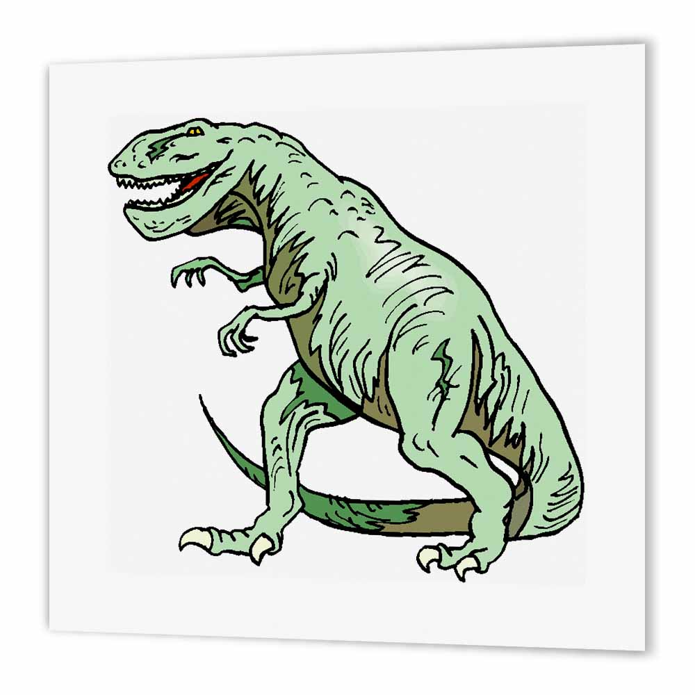 3dRose Green T Rex Dinosaur, Iron On Heat Transfer, 6 by 6-inch, For White Material