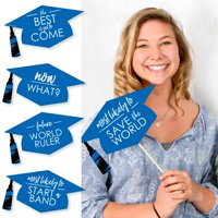 Hilarious Blue Grad - Best is Yet to Come - Royal Blue Graduation Party Photo Booth Props Kit - 20 Count