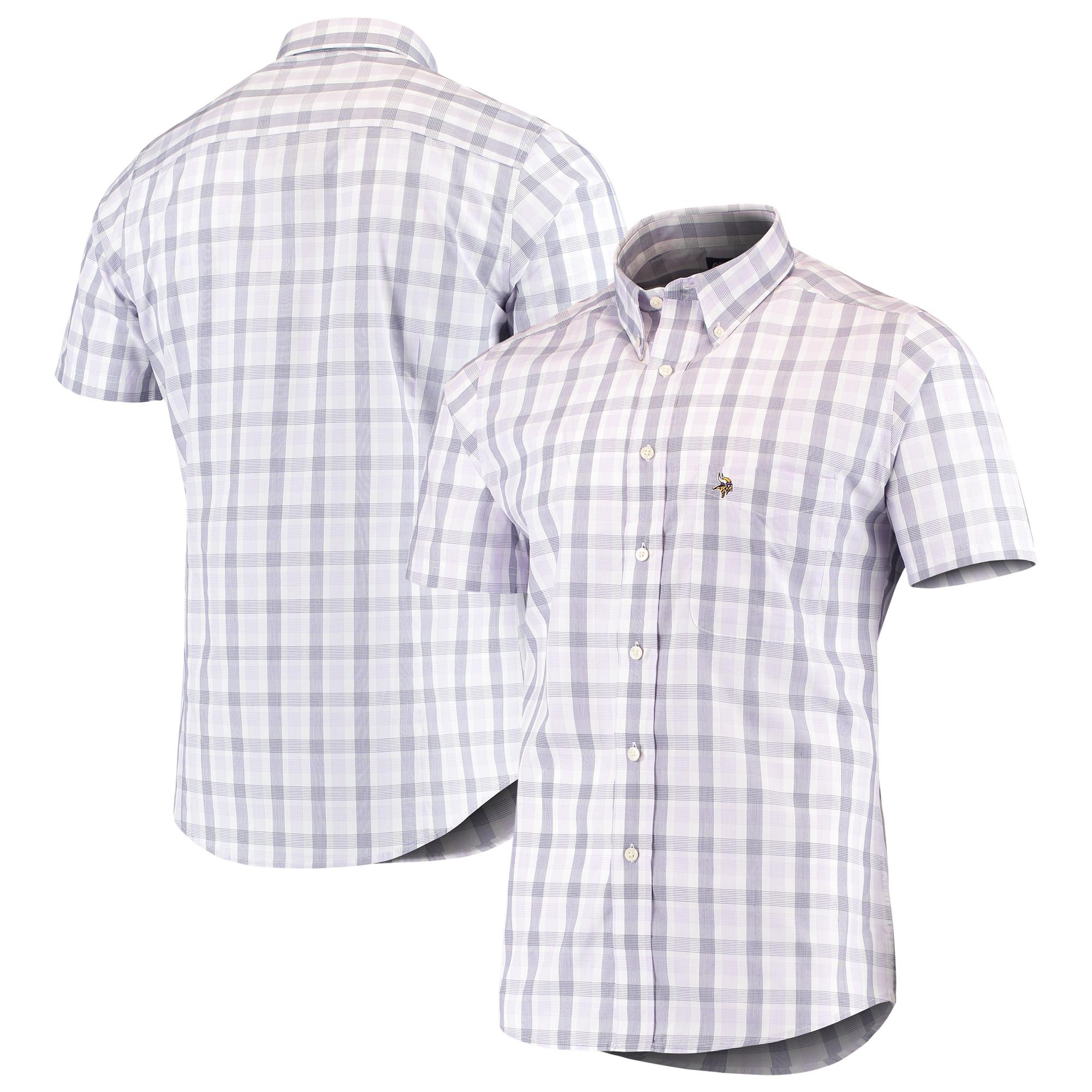 Minnesota Vikings Antigua Woven Button-Down Shirt - Purple - M