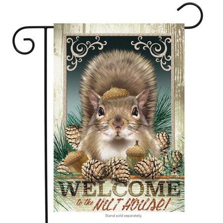 nut house fall garden flag squirrel humor autumn 12.5