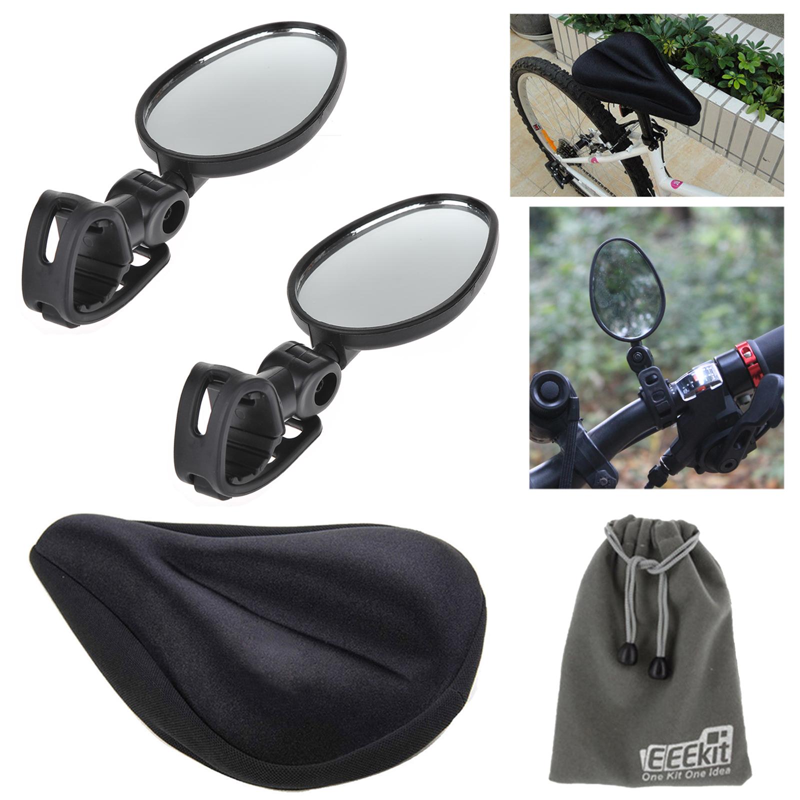 EEEKit 2in1 for Mountain Bike Bicycle Cycling, Mini Rotaty Rearview Handlebar Glass Mirror+Bike Saddle Cover Gel Seat