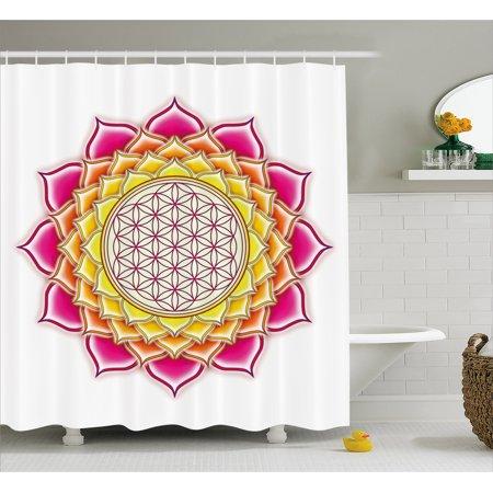 Lotus Shower Curtain Flower Of Life Sacred Geometry Pattern Inside Petals Yoga Zen Image