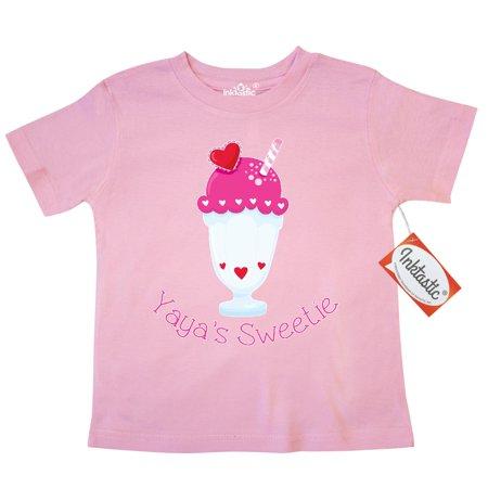 Inktastic Yaya's sweetie Toddler T-Shirt yaya grandparent valentines day ice cream float sundae heart sprinkles red pink tees. gift child preschooler kid clothing (Sundari Gift)
