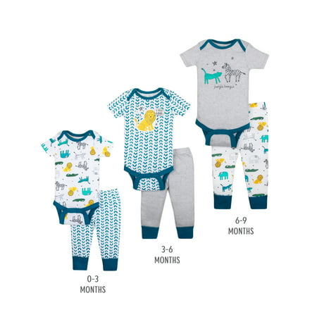 - Little Star Organic Grow with Me Bodysuits & Pants Baby Shower Gift Set, 6pc (Baby Boys)