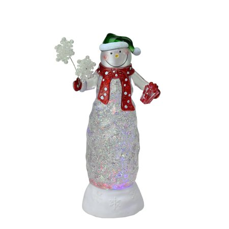 "11"" Swirling Glitter LED Lighted Snowman with Gifts Table Top Christmas - Led Table Decorations"