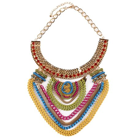 Funky Jewelry (Generic Funky Ethnic Tribal Colorful Multiple Chain Bib Choker Statement Collar)