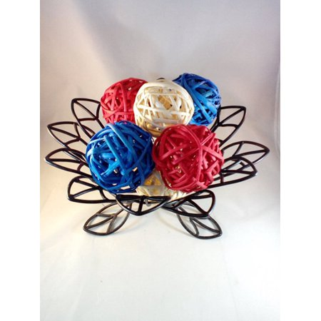 Decorative Spheres Red White And Blue Rattan Vase Filler Ornament