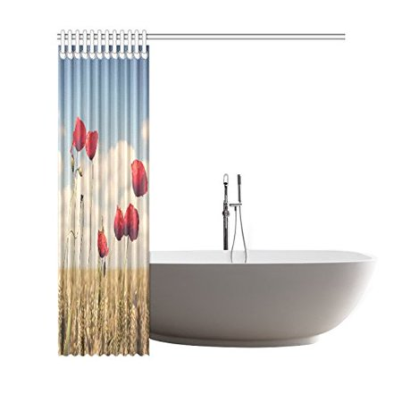 GCKG Red Poppy Wheat Shower Curtain 66x72 Inches Polyester Fabric Bathroom Sets Home Decor - image 1 of 2