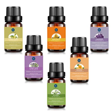 Lagunamoon Essential Oils Set For Reducing Stress and Anxiety, Premium Therapeutic Aromatherapy Oil Top 6 Kit Lavender Bergamot Ylang ylang Clary Sage Vetiver Orange For Massge & Relaxation