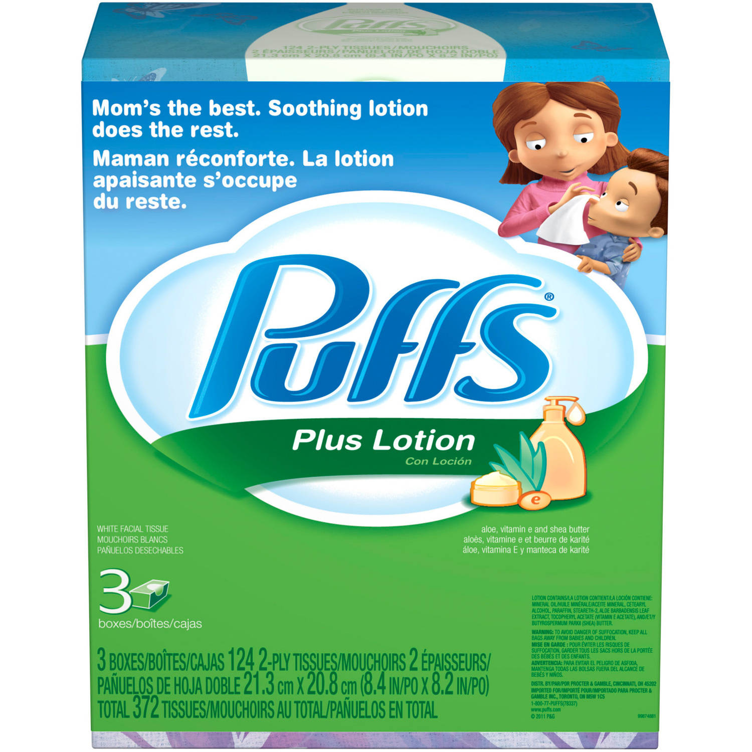 Puffs White Facial Tissues Plus Lotion, 124 sheets, 3 count