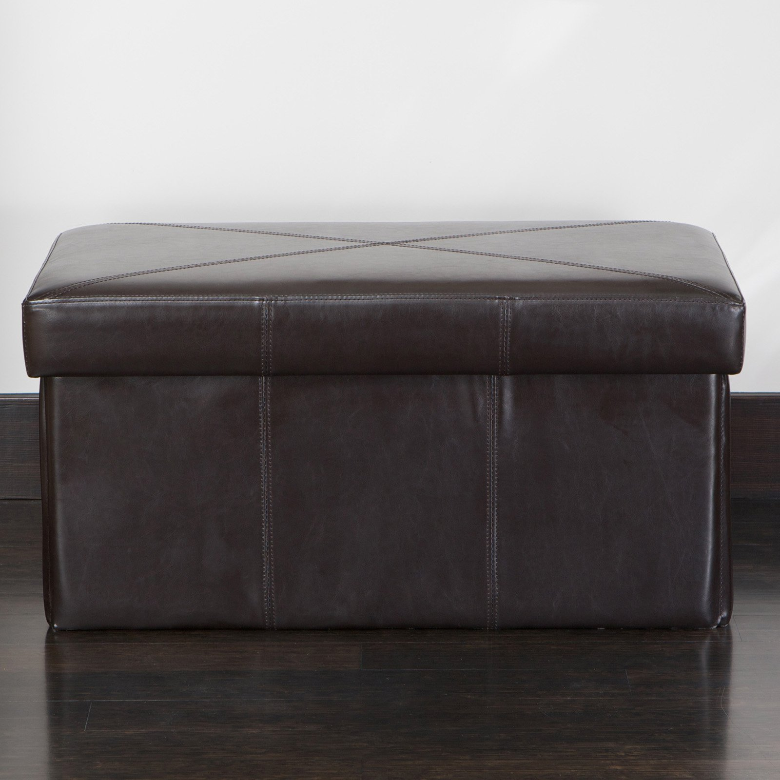 Nottingham Leather Folding Storage Ottoman Bench