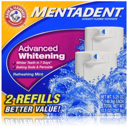 Mentadent anticavité Dentifrice double Recharge Advance Mint Blanchiment, 2 pièces