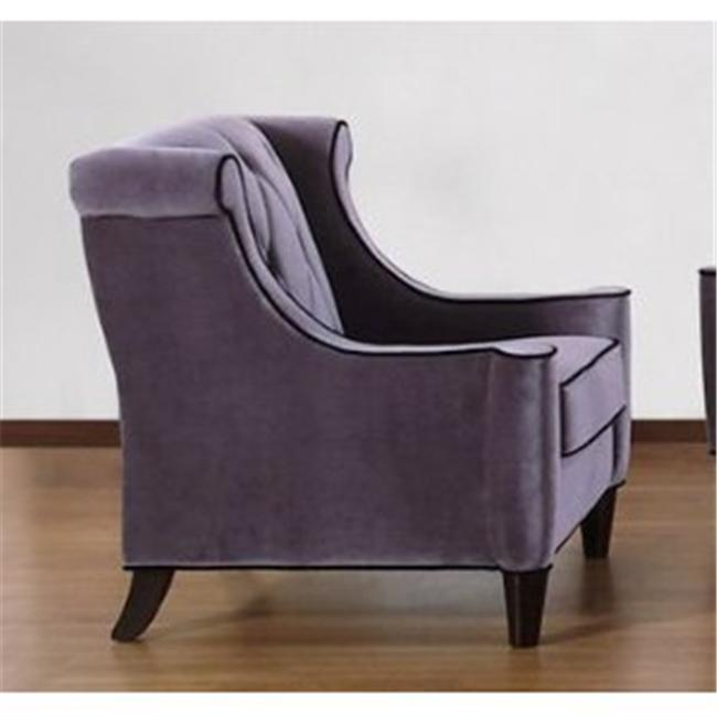 Armen Living LC8441GRAY 844 Barrister Chair Gray Velvet-Black Piping