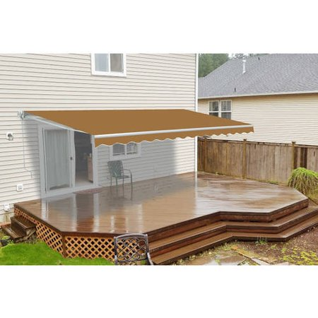 ALEKO 20'x10' Retractable Motorized Patio Awning, Sand Color