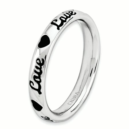 Sterling Silver Stackable Expressions Black Enamel Love Ring Size 10 - image 1 de 3