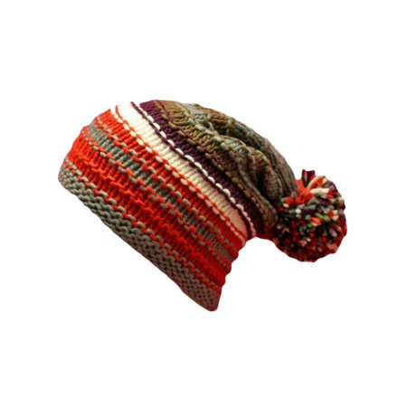 Multicolor Striped Knit Slouchy Beanie Hat