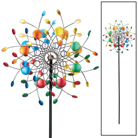 Bright Colorful Spinning Kaleidoscope Garden Decor Yard Stake with Sparkling Acrylic Beads, Multi