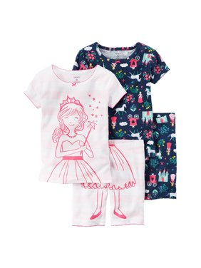 Carters Girls Fairytale 4-Piece Colorful Cotton PJs