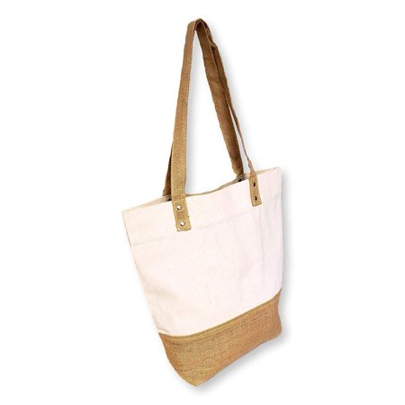 Women's Jute with Cotton Reusable Large Tote Grocery Shopping Bag - Custom Personalization Available (Natural - No Embroidery)