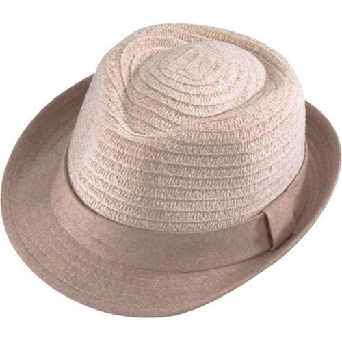 Henschel 6050-69L Fedora-Channelle Braid Hat With Wool 1. 5 inch Brim And Band, Beige, Large