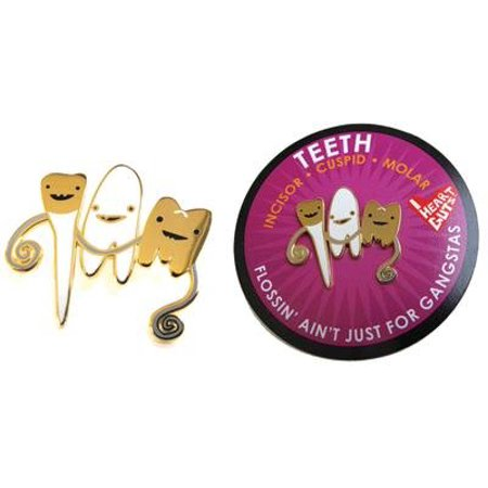 Teeth Lapel Pin Flossin' Ain't Just for Gangstas I Heart Guts Gold - image 1 of 1