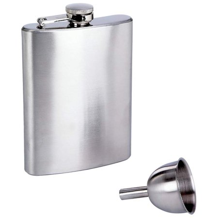 Maxam ® 8oz Stainless Steel Flask And Funnel In Window Gift Box - KTFLASK8WB