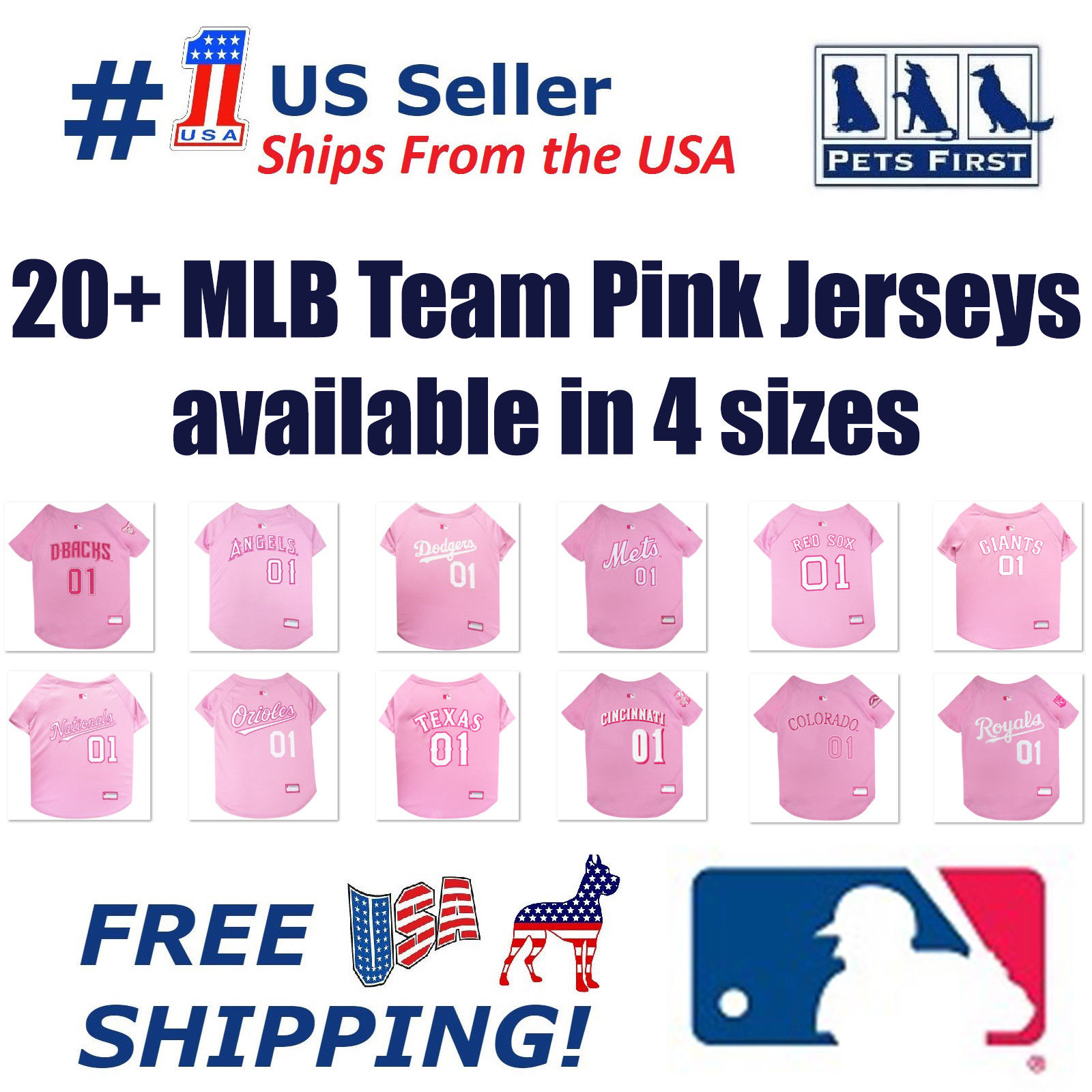 Pets First MLB Atlanta Braves Pink Jersey for Cats & Dogs