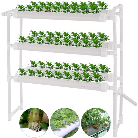 VEVOR Hydroponic Site Grow Kit 3 Layers 54 Plant Sites 6 Pipes Water Culture Garden Plant System (54Plant Sites, 3
