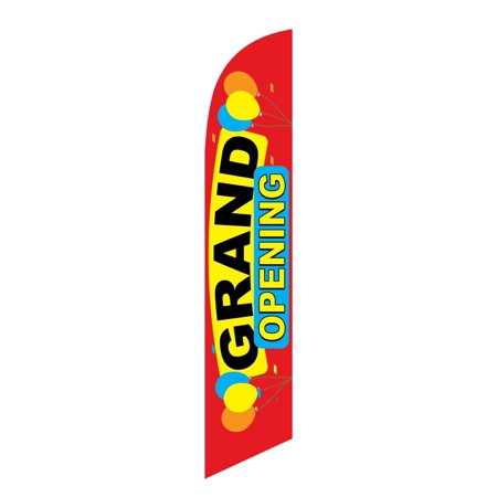 Windless Swooper Flag GRAND OPENING Multi-Color w Balloons