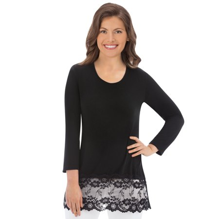 Miss Me Tunic (Women's Long Sleeve Knit Tunic Top with Lace Hemline)