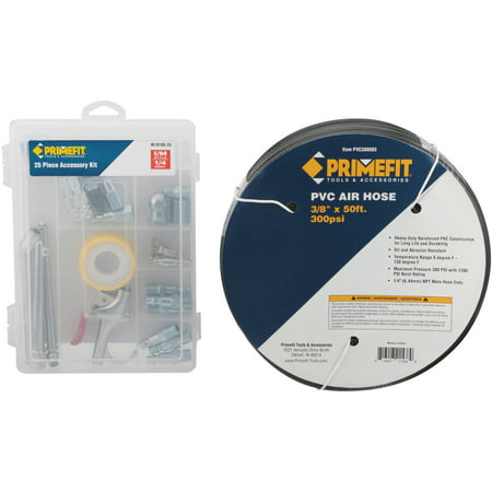 Primefit® 50 ft. Air Hose with Accessory Kit 26 pc Box Air Leveling Kit Air