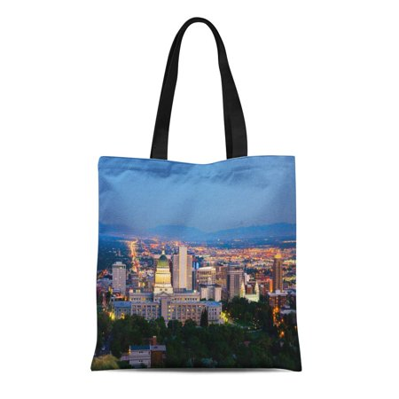 LADDKE Canvas Tote Bag Downtown Salt Lake City Utah at Night Mountains Capitol Durable Reusable Shopping Shoulder Grocery Bag