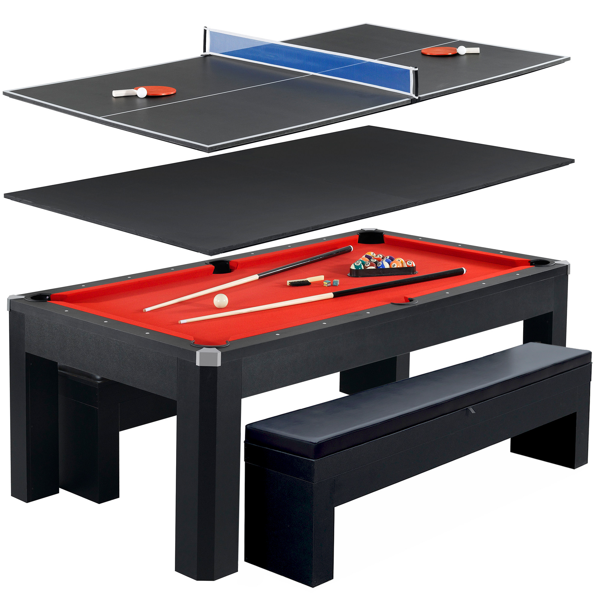 Hathaway Park Avenue Multi-Game Table with Pool, Table Tennis, Benches, 7-Foot