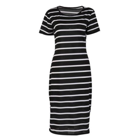 Striped Maxi Dress (EFINNY Women's Summer Short Sleeve Striped Long Maxi Casual Party)