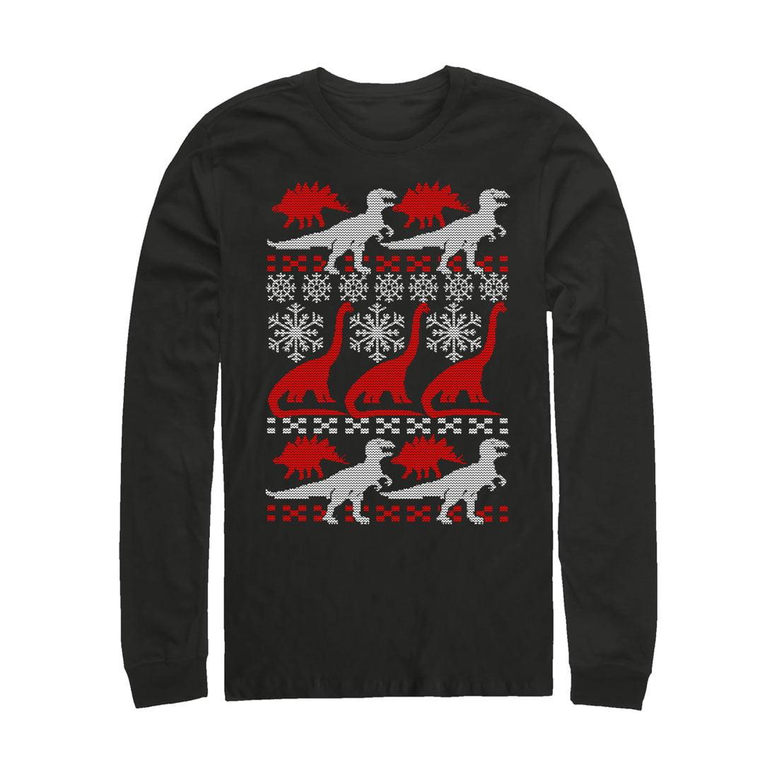 Men's Dinosaur Ugly Christmas Sweater Print Long Sleeve T-Shirt
