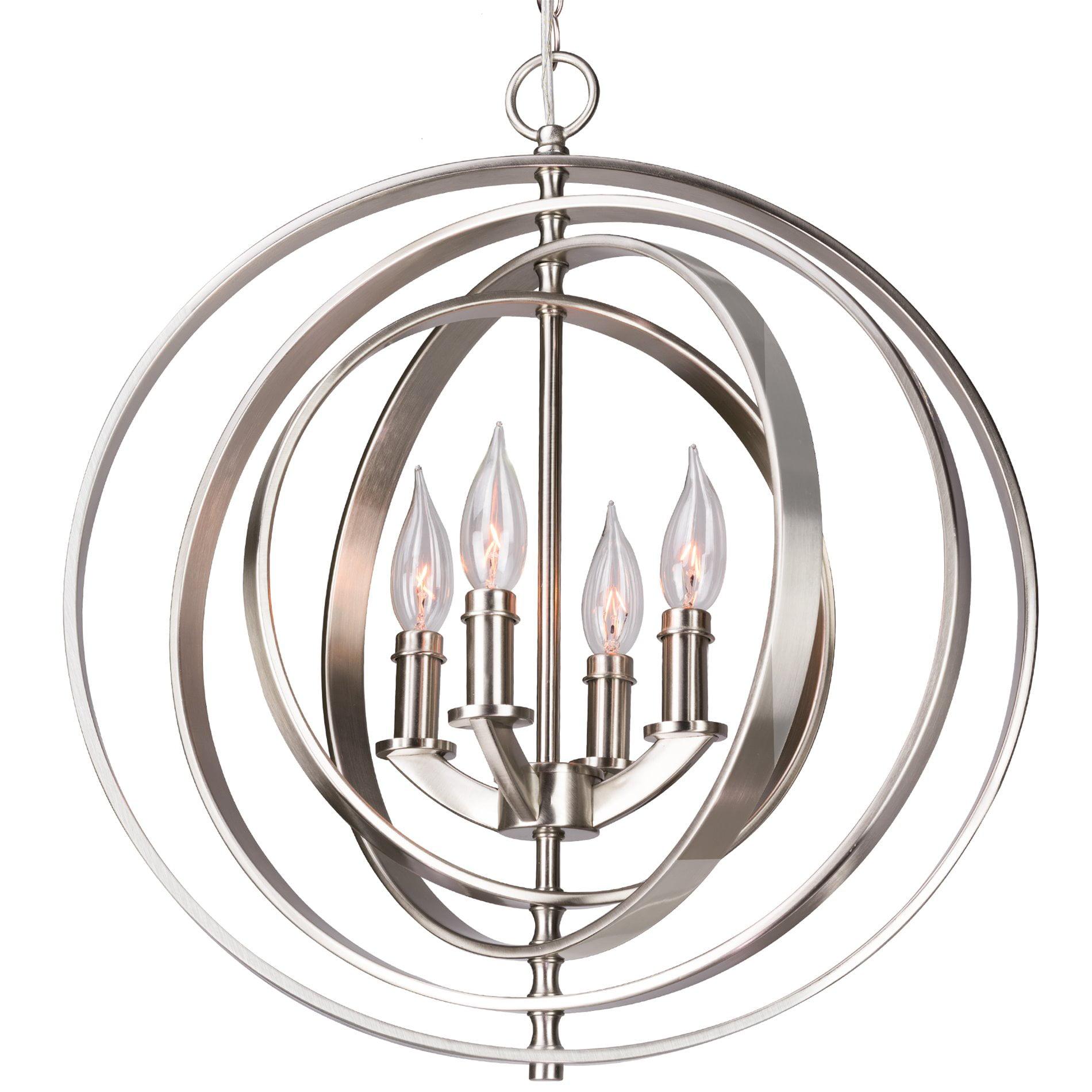 """Revel Orbits 18"""" 4 Light Modern Sphere Orb Chandelier Brushed"""