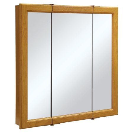 "Design House 545301 Claremont Tri-View Medicine Cabinet Mirror, 30"", Honey Oak"