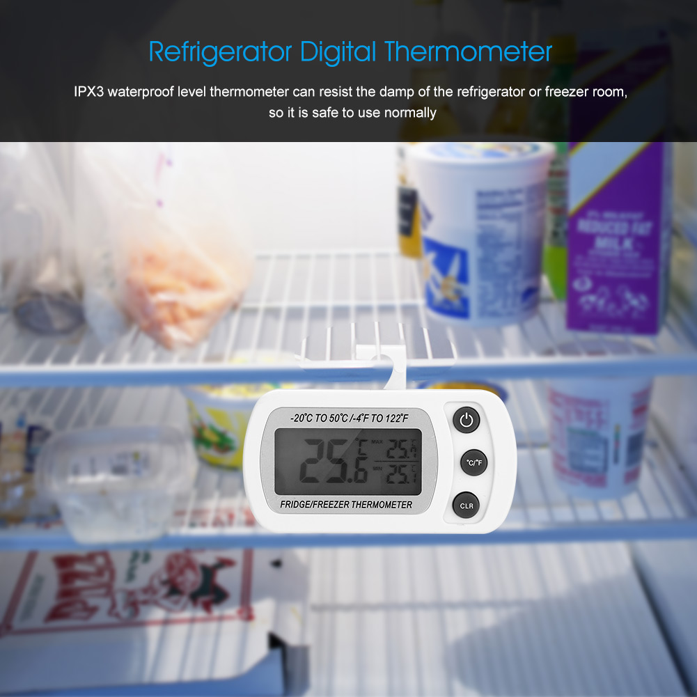 Dilwe Kitchen Large LCD Refrigerator Fridge Freezer Digital Thermometer with Adjustable Stand, Digital Thermometer,Thermometer