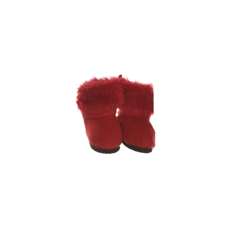 "3"" Fashion Avenue Festive Red Plush Faux Fur Winter Boots Christmas Ornament"