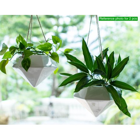 Geometric Hanging Vase, Wall Hanging Planter for Porch, Ceiling and Wall Décor, White