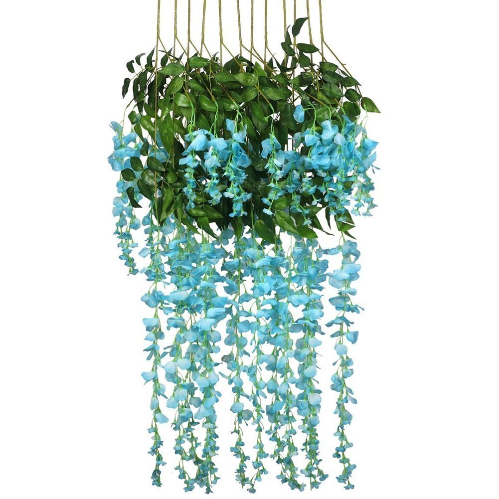 12 Piece Artificial Wisteria Vine Rattan, Hanging Silk Flowers String for Home Party, Yard and Wedding Decor, Green