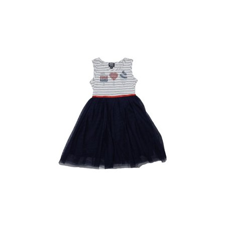 Pink & Violet Girls Size X-Small (4/5) Sleeveless Sweets Rhinestone Dress, Navy/Grey/White - Small Pink Sweets
