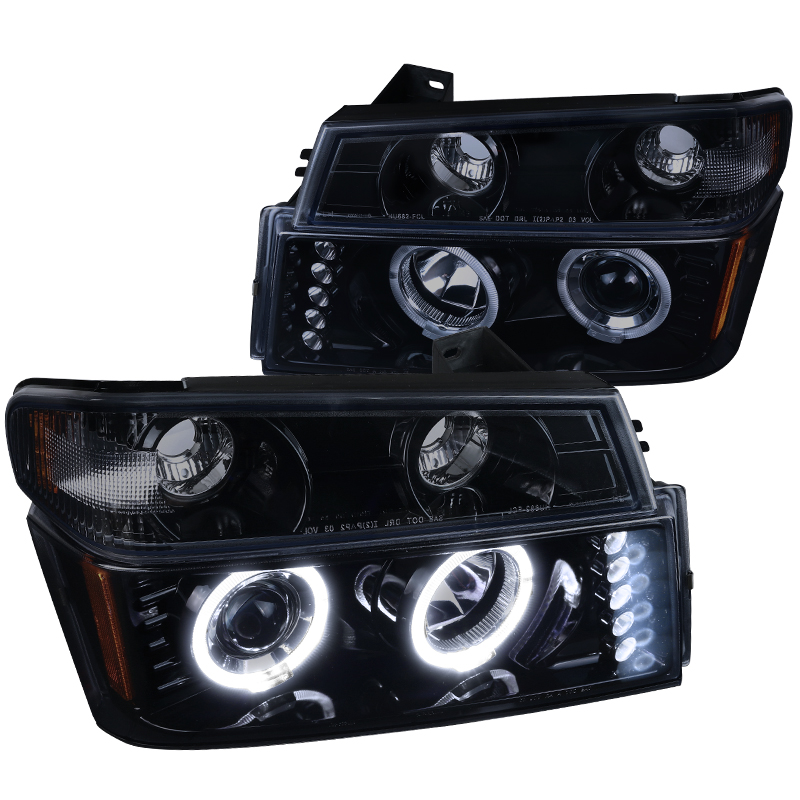 Spec-D Tuning 2004-2012 Chevy Chevrolet Colorado Gmc Canyon Glossy Black Projector Headlights + Corner Lights Signal Lamps (Left + Right) 04 05 06 07 08 09 10 11 12