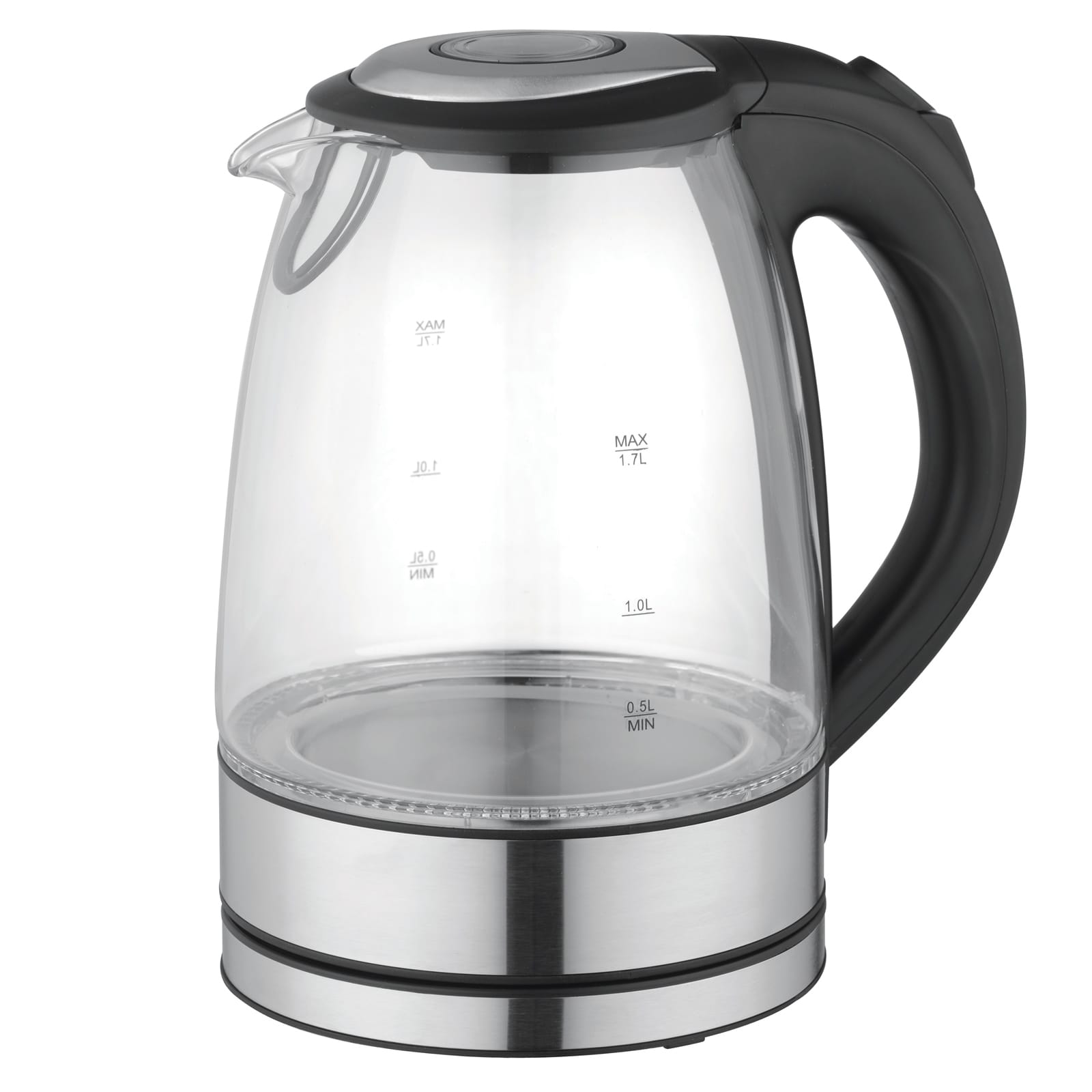 MegaChef 1.7Lt. Glass and Stainless Steel Electric Tea Kettle