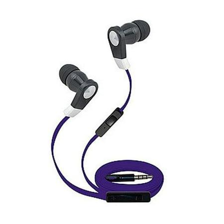 Super High Clarity 3.5mm Stereo Earbuds/ Headphone for BlackBerry Evolve X, Key2 LE, Evolve, Key2, Motion, KEYone (Purple) - w/ Mic & Volume Control + MND Stylus