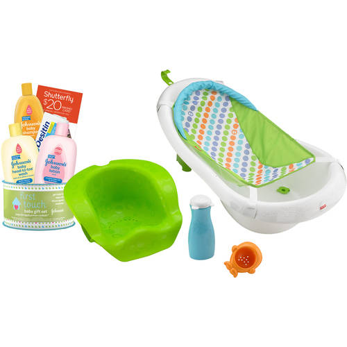 Fisher-Price 4-in-1 Grow-with-Me Tub with Bonus Johnson's First Touch Gift Set