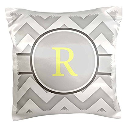 3dRose Grey and white chevron with yellow monogram initial R, Pillow Case, 16 by 16-inch ()