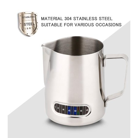 - Lv. life 600ml Stainless Steel Coffee Milk Frothing Pitcher with Thermometer,Coffee Pitcher, Frothing Pitcher with Thermometer
