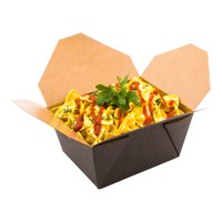 Disposable Take Out Container, To Go Box - Eco-Friendly Paper - Rectangle - 30 oz - Black with Kraft Interior - 200ct Box